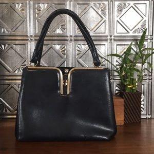 Vintage Patent Leather Handbag (deep navy)